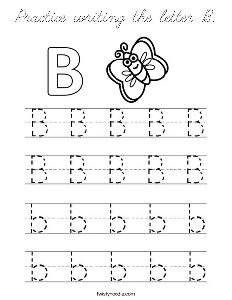 Practice writing the letter B. Coloring Page