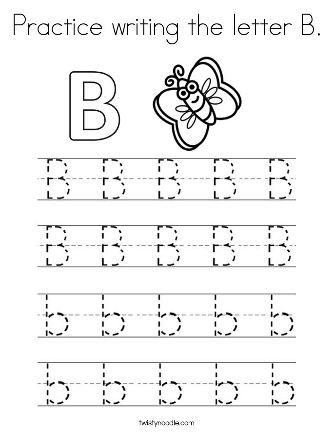 practice writing the letter b coloring page twisty noodle. Black Bedroom Furniture Sets. Home Design Ideas