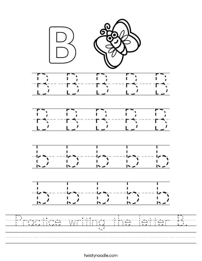 practice writing the letter b worksheet twisty noodle. Black Bedroom Furniture Sets. Home Design Ideas