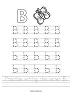 Practice writing the letter B Handwriting Sheet