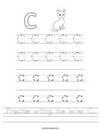 Practice writing the letter C Handwriting Sheet