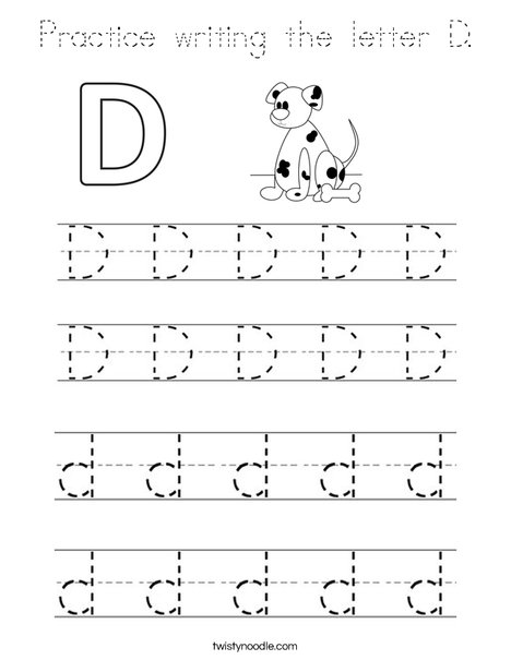 Practice writing the letter D. Coloring Page