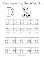 Practice writing the letter D Coloring Page