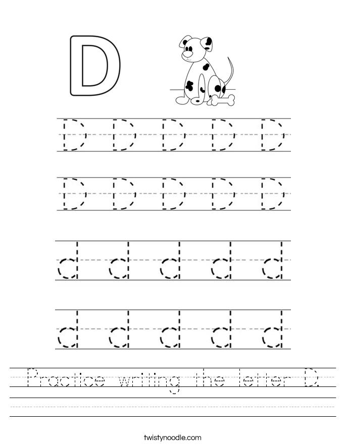 practice writing the letter d worksheet twisty noodle. Black Bedroom Furniture Sets. Home Design Ideas
