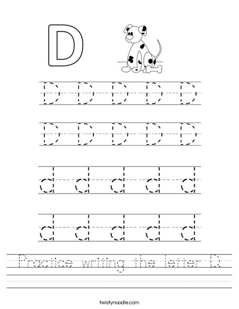 Practice writing the letter D. Worksheet