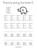 Practice writing the letter E. Coloring Page