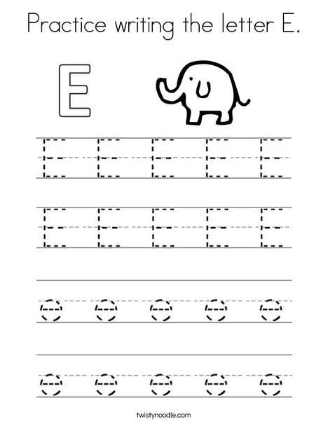 practice writing the letter e coloring page