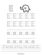 Practice writing the letter E Handwriting Sheet