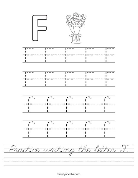 Practice writing the letter F. Worksheet
