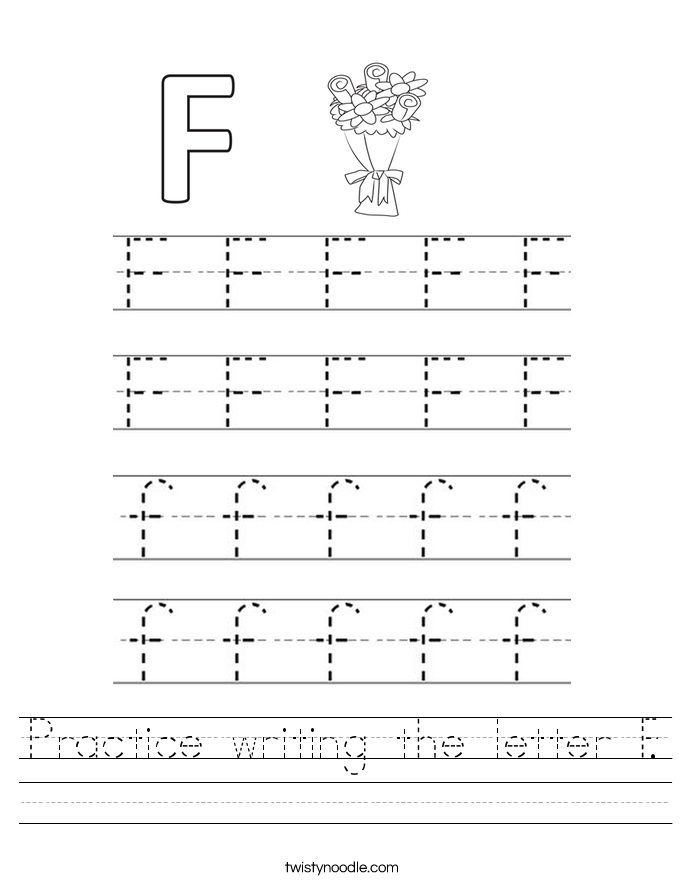 Practice writing the letter F Worksheet - Twisty Noodle
