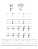 Practice writing the letter F Handwriting Sheet