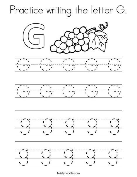 Practice writing the letter G. Coloring Page