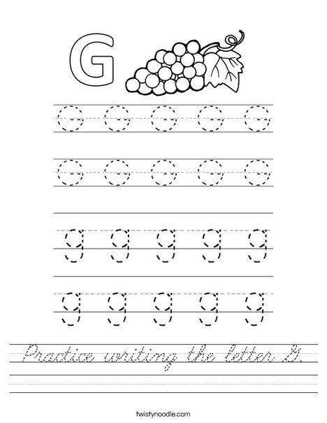 Practice writing the letter G. Worksheet