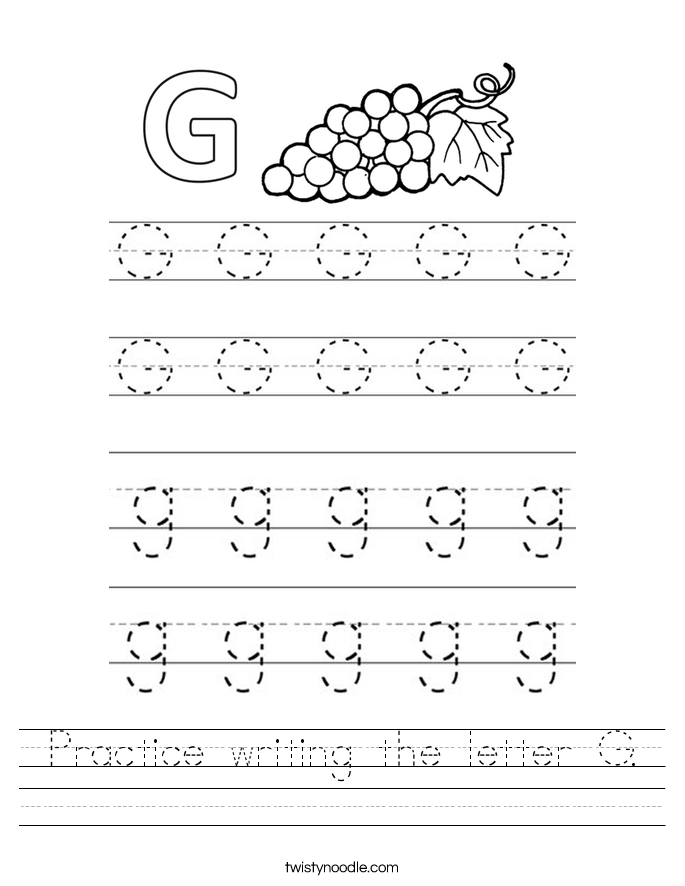 practice writing the letter g worksheet twisty noodle. Black Bedroom Furniture Sets. Home Design Ideas