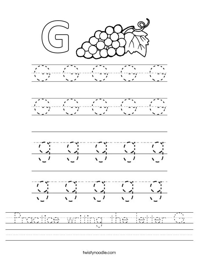 Letter G Writing Practice Worksheet - Free Kindergarten English ...