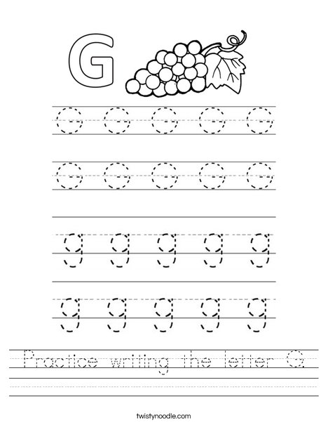 Practice Writing The Letter G Worksheet - Twisty Noodle