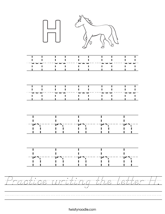 Practice writing the letter H. Worksheet