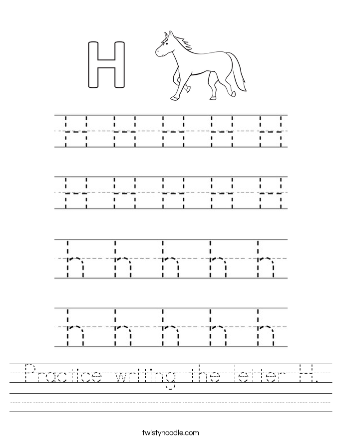Practice writing the letter H Worksheet - Twisty Noodle