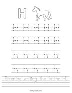 Practice writing the letter H Handwriting Sheet