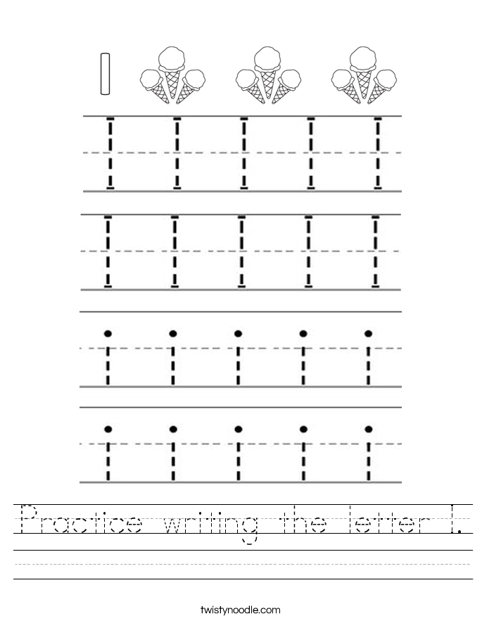 Practice writing the letter I Worksheet - Twisty Noodle