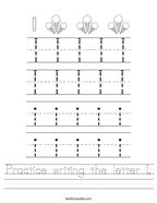 Practice writing the letter I Handwriting Sheet