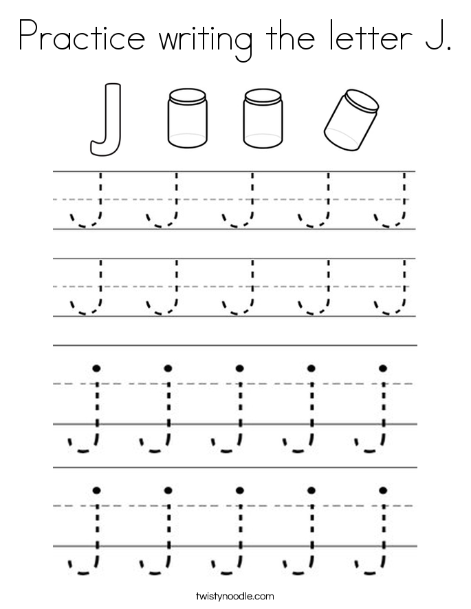 Practice writing the letter J. Coloring Page