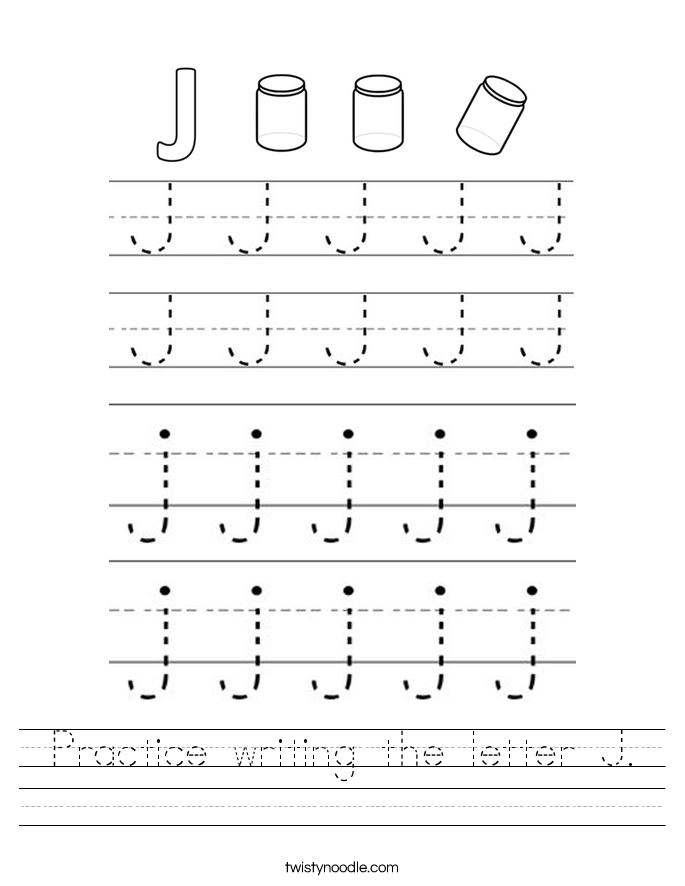 Practice writing the letter J. Worksheet