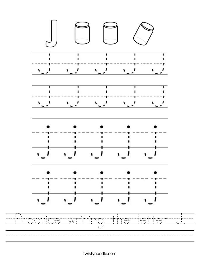Practice writing the letter J. Worksheet