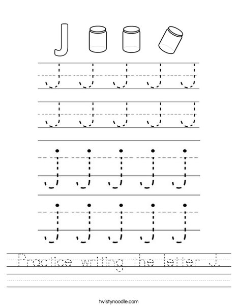 Practice writing the letter J Worksheet - Twisty Noodle