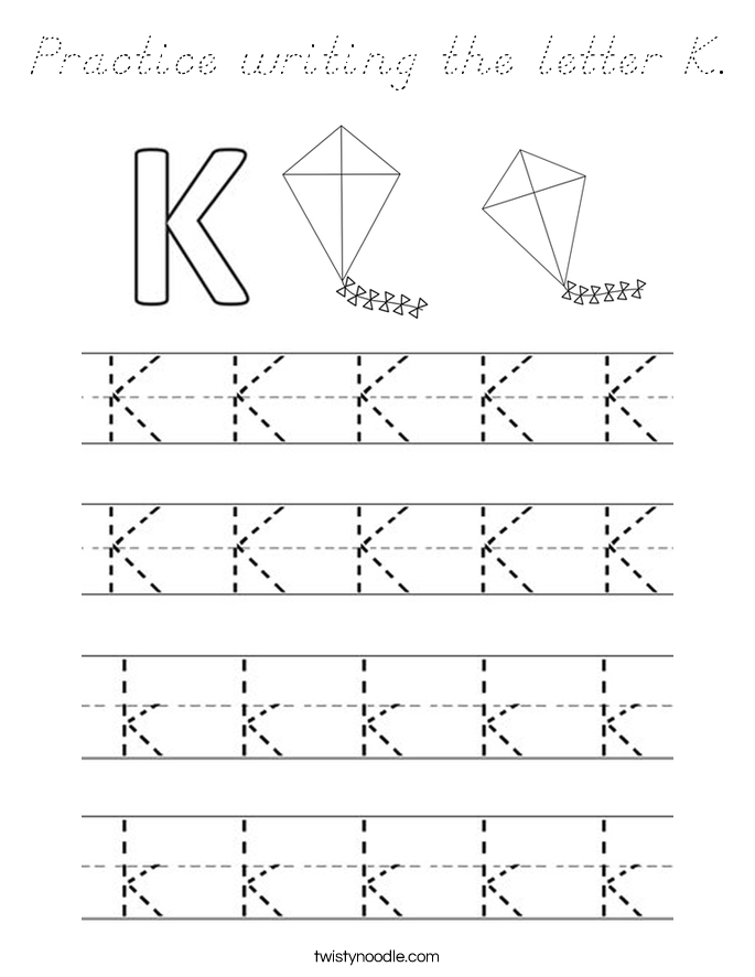 Practice Writing The Letter K Coloring Page D Nealian