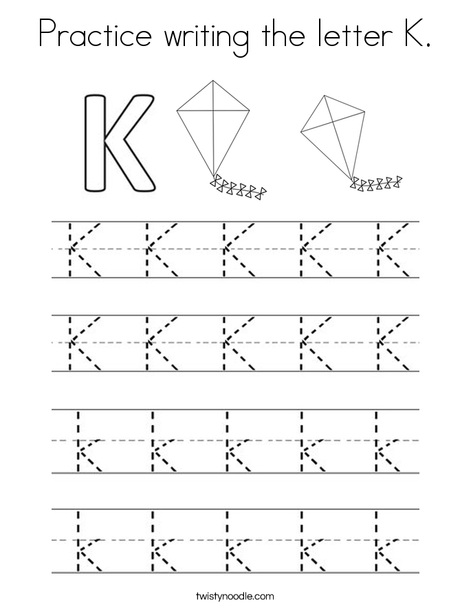 Practice Writing The Letter K Coloring Page on For In Cursive