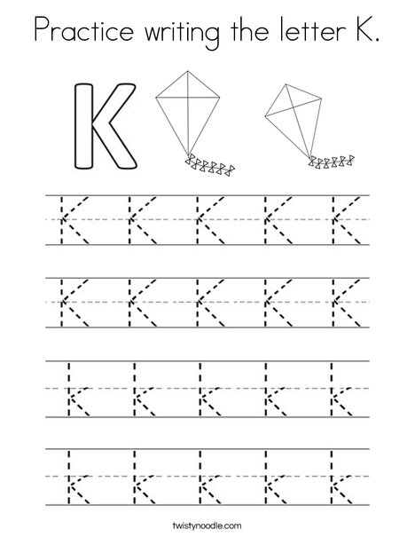 Practice writing the letter K Coloring Page - Twisty Noodle