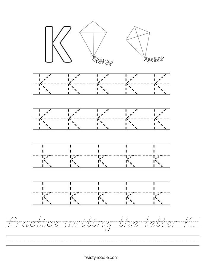 Practice writing the letter K. Worksheet