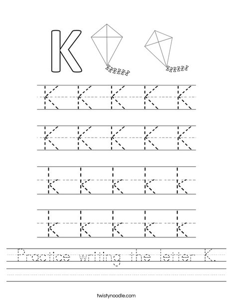 Practice writing the letter K. Worksheet