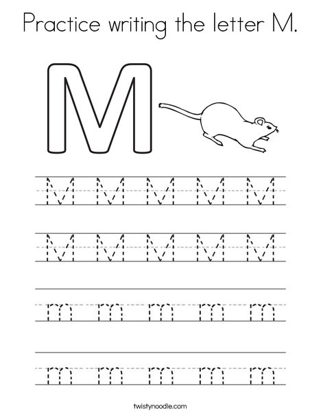 Practice writing the letter M. Coloring Page