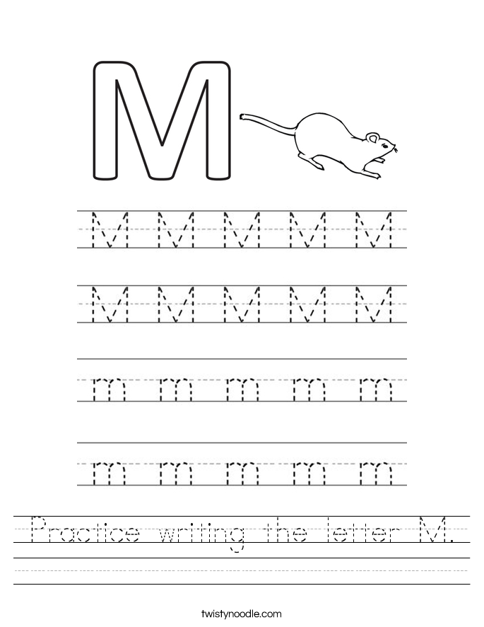 Practice writing the letter M. Worksheet