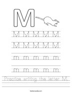 Practice writing the letter M Handwriting Sheet