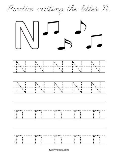 practice writing the letter n coloring page cursive twisty noodle. Black Bedroom Furniture Sets. Home Design Ideas