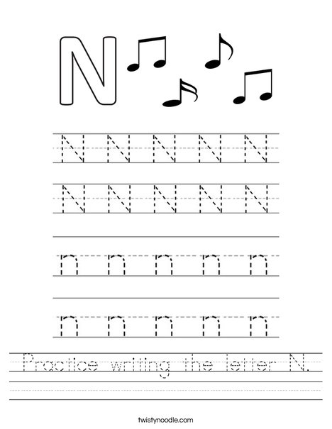 Practice writing the letter N. Worksheet