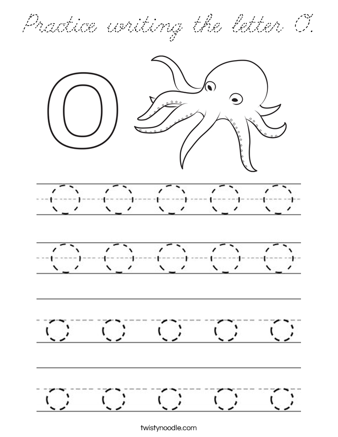 Practice writing the letter O Coloring Page - Cursive ...