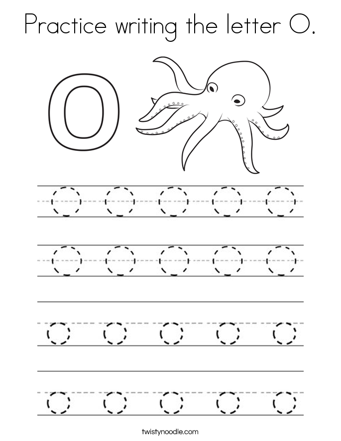 practice writing the letter o coloring page