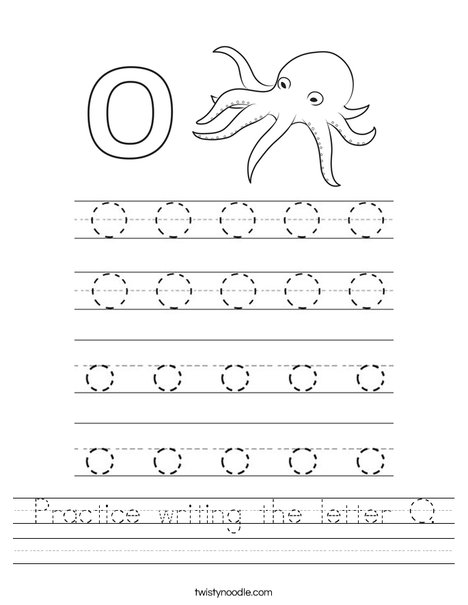 Practice writing the letter O. Worksheet