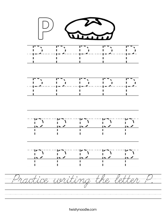 Practice writing the letter P Worksheet - Cursive - Twisty ...