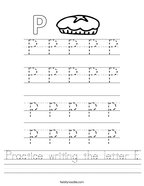 Practice writing the letter P Handwriting Sheet