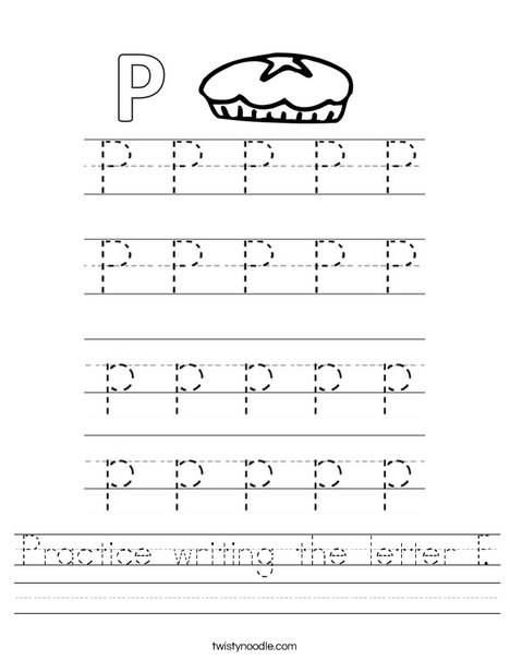 Practice writing the letter P. Worksheet
