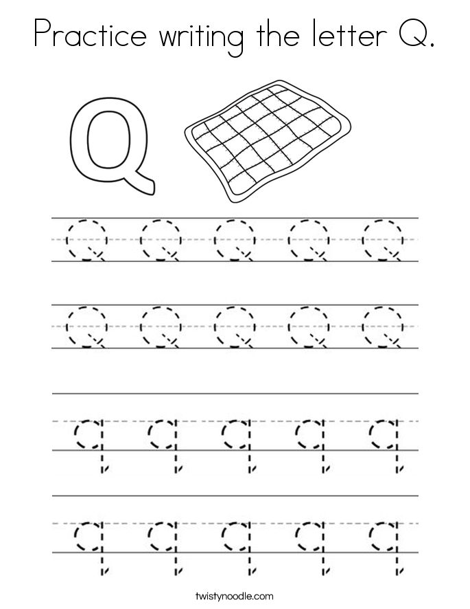Practice writing the letter Q. Coloring Page