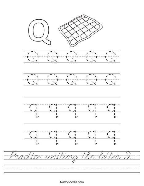 Practice writing the letter Q. Worksheet