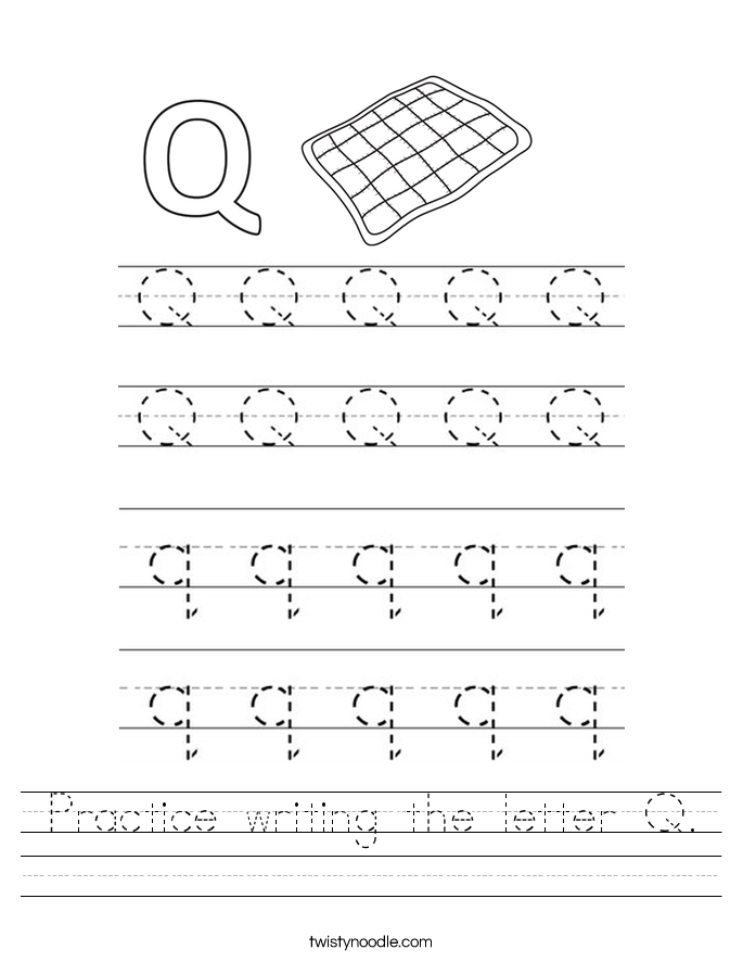Practice writing the letter Q Worksheet - Twisty Noodle