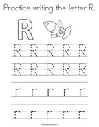 Practice writing the letter R Coloring Page