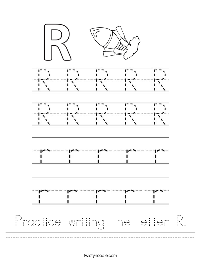 Practice writing the letter R Worksheet Twisty Noodle – Handwriting Tracing Worksheets